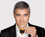 George Clooney Holds Nespresso Glass Expresso Cup